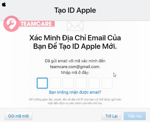 Điền mã số bảo mật gửi về mail tạo apple id