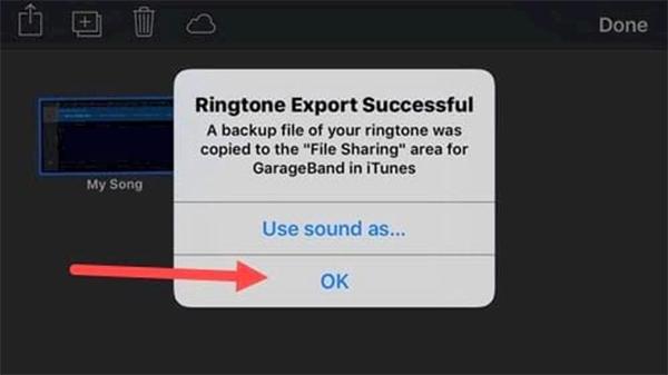 Xuất hiện thông báo Ringtone Export Succussful