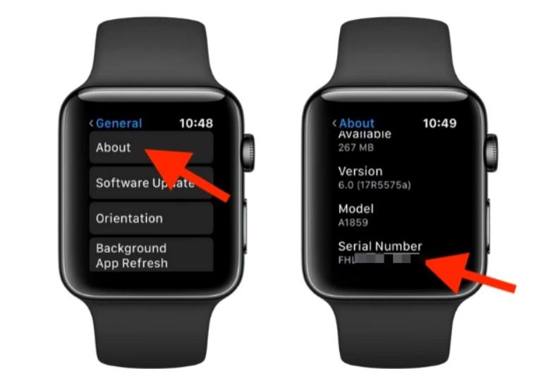 Cách tìm imei trên cài đặt apple watch