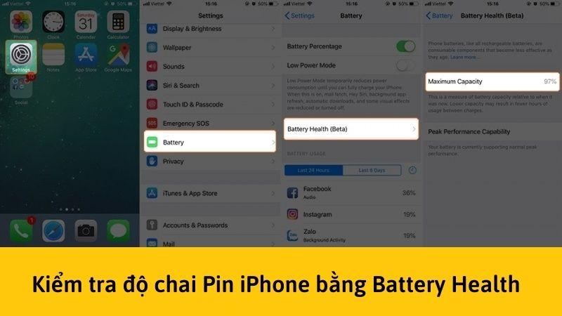 Kiểm tra độ chai pin iPhone bằng battery headlth