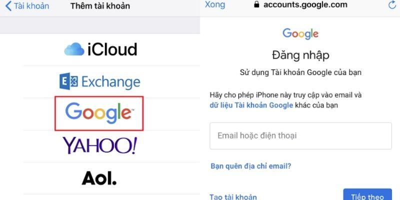 hướng dẫn đăng nhập đồng bộ danh bạ lên gmail