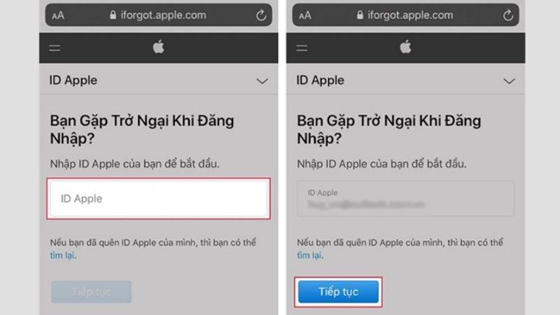 lấy lại mật khẩu id apple bằng số điện thoại