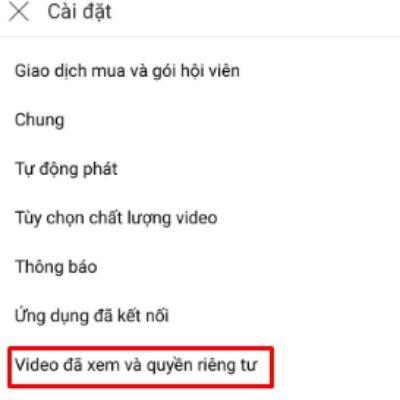 xóa lịch sử youtube